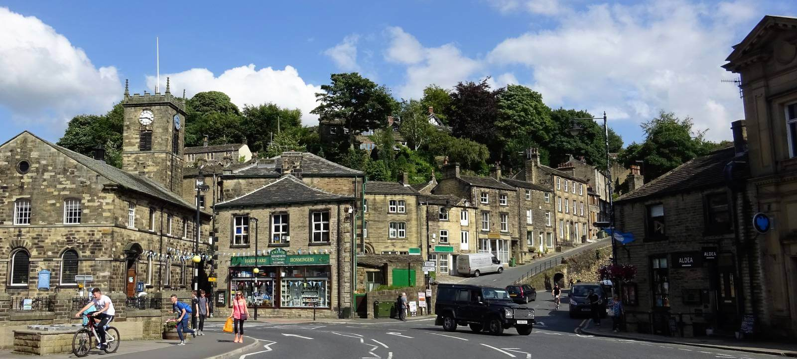 A traffic junction at Holmfirth, West Yorkshire.
